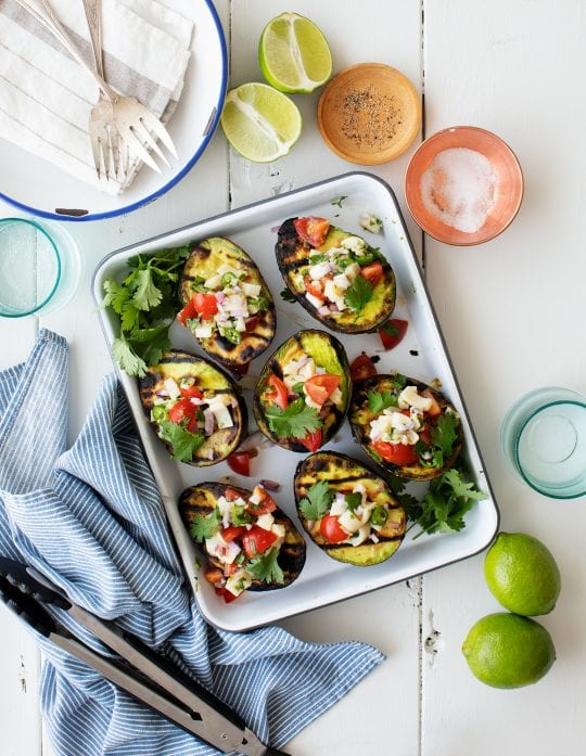 Grilled Avocados Stuffed with Veggie Ceviche