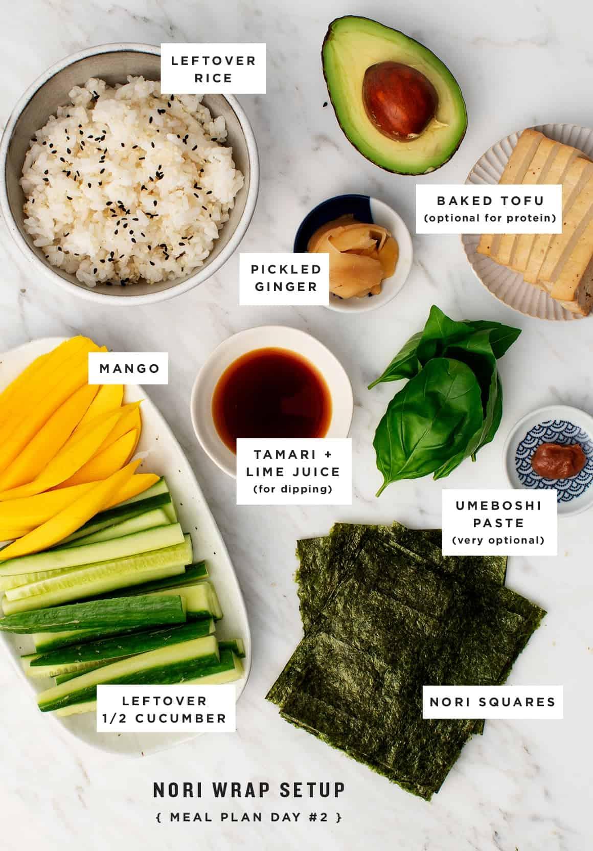 Cucumber Mango Nori Wraps
