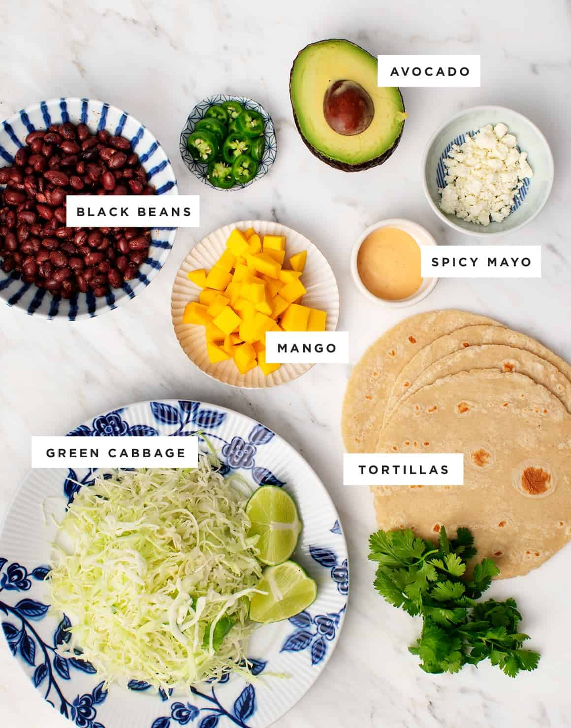 Spicy Mango, Black Bean & Avocado Tacos