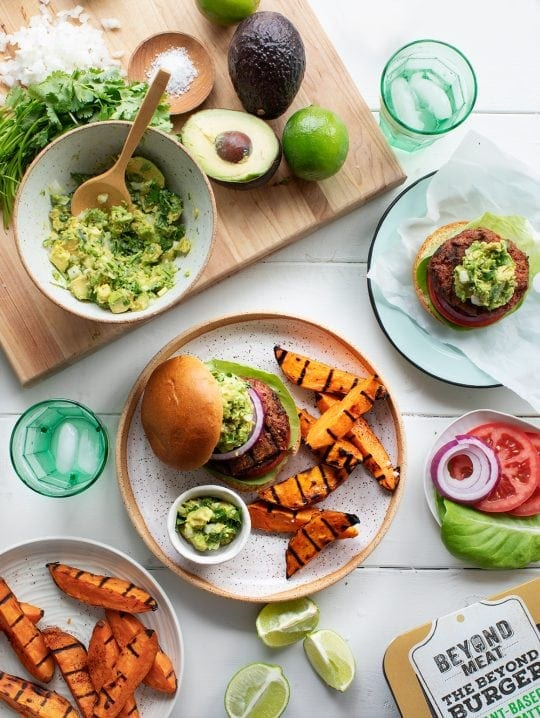 Guacamole Beyond Burgers w/ Spicy Sweet Potato Wedges