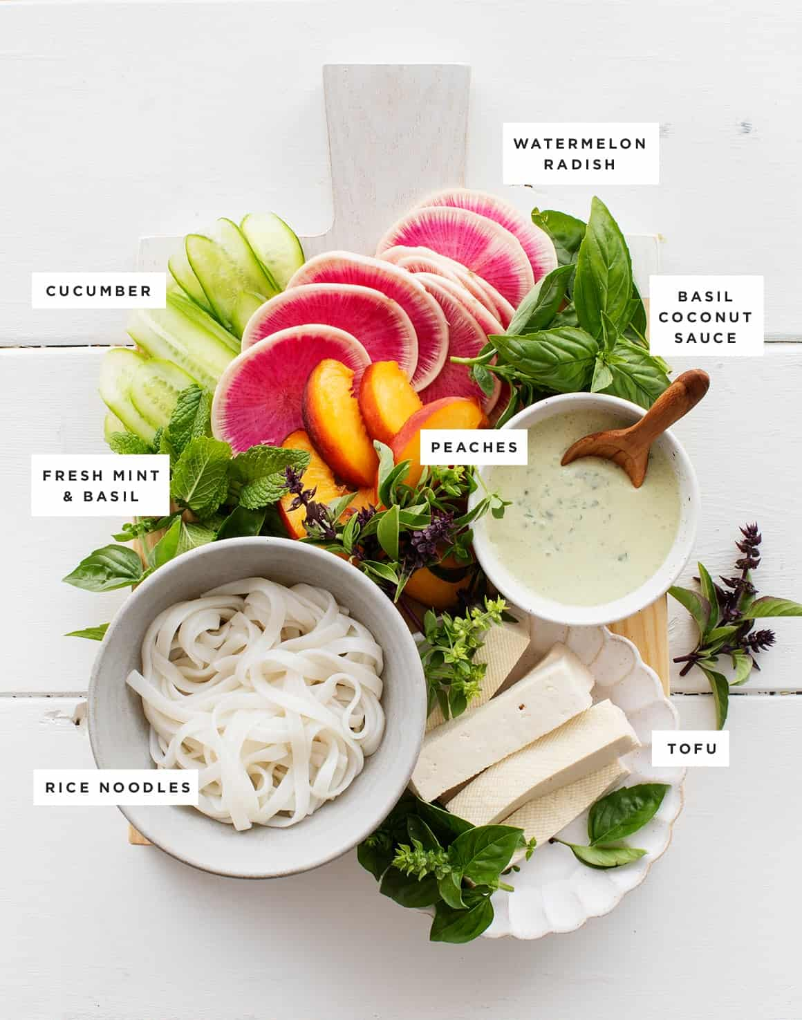 Avocado Peach Vegetable Summer Roll Recipe ingredients