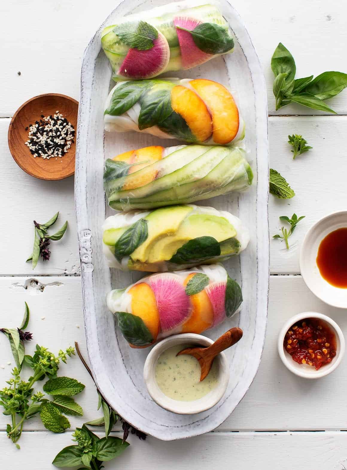 Avocado Peach Summer Rolls with Coconut Basil Sauce