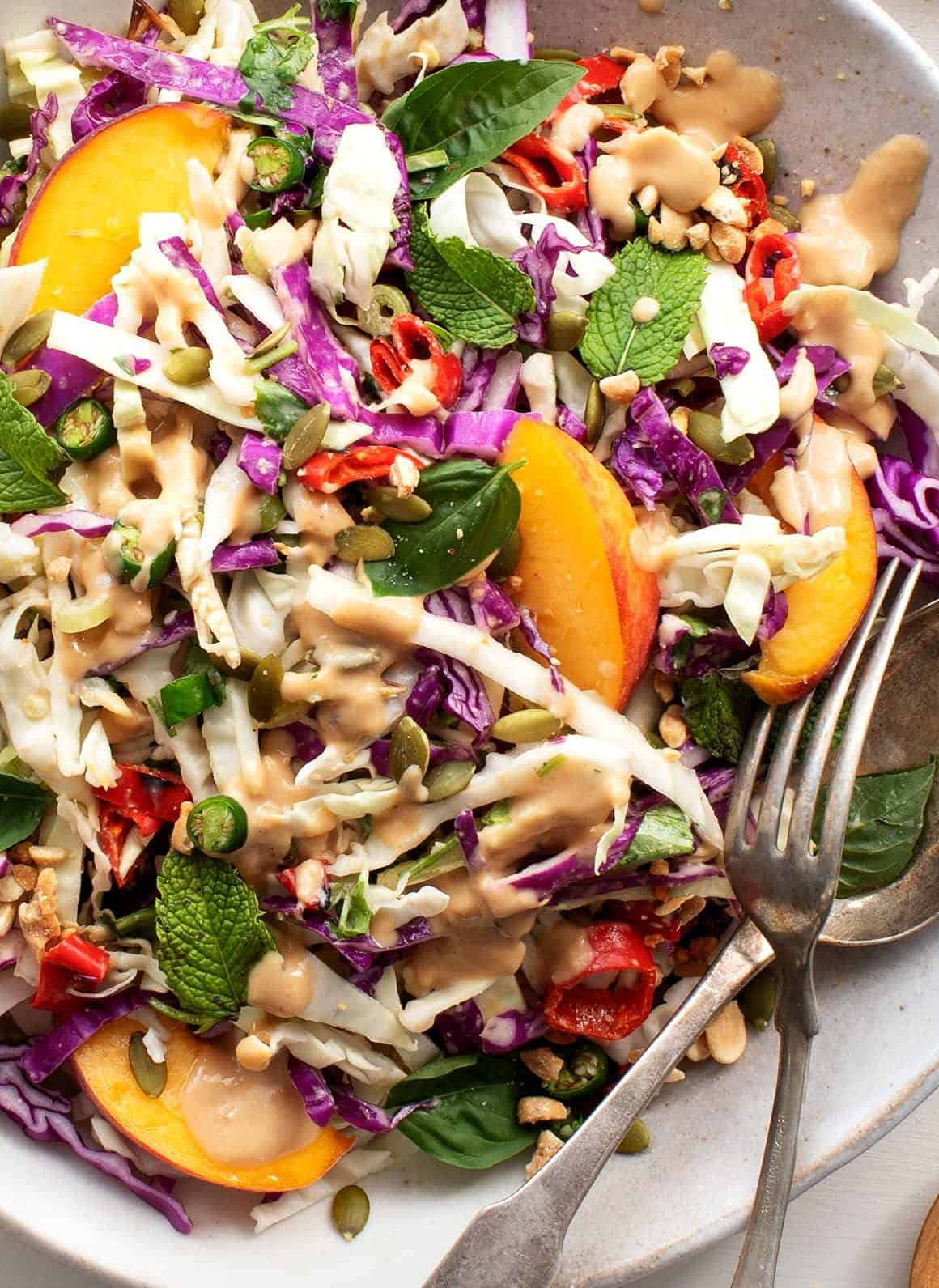 Spicy Ginger Miso Slaw with Peaches