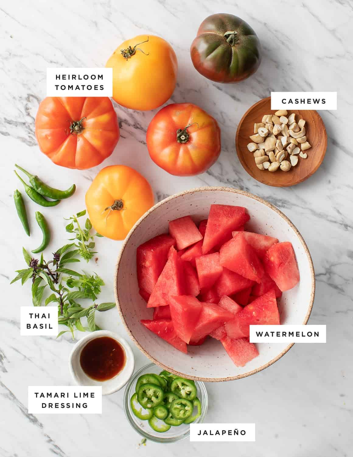 Spicy Tomato Watermelon Salad ingredients
