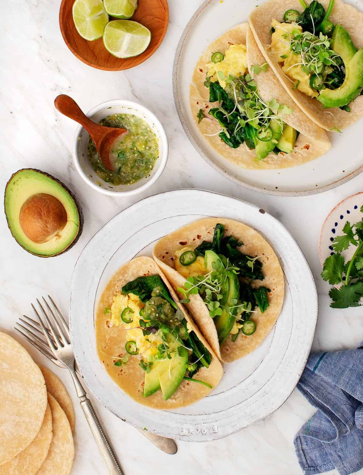 Avocado Recipes: Avocado Tomatillo Breakfast Tacos
