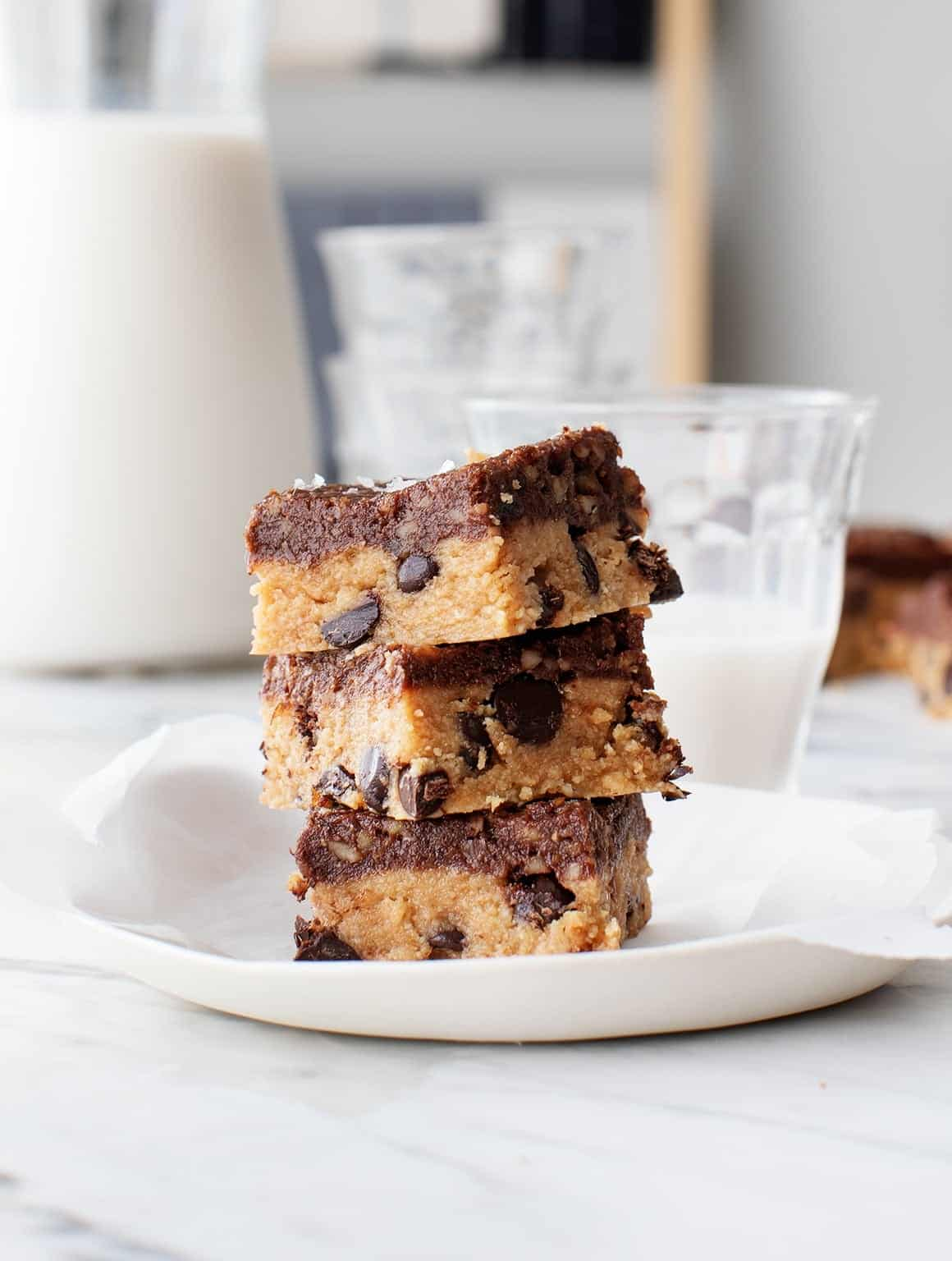 Peanut Butter Chocolate Chip Cookie Bars Recipe Love And Lemons