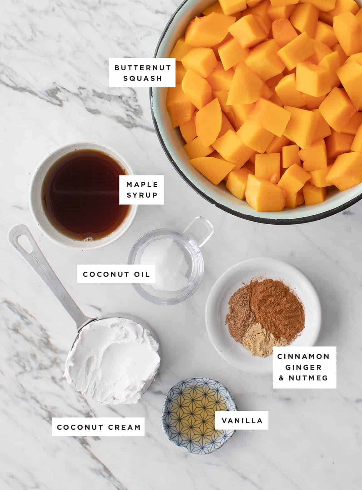 Creamy Vegan Butternut Squash Pudding ingredients