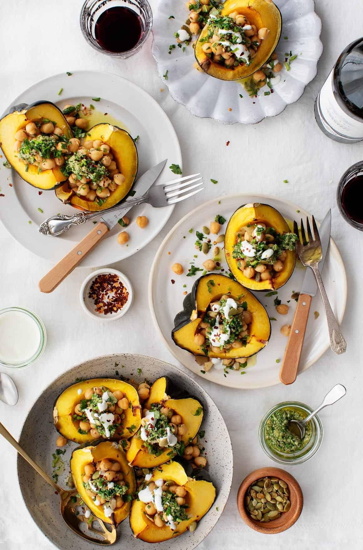 Acorn Squash with Chickpeas & Chimichurri