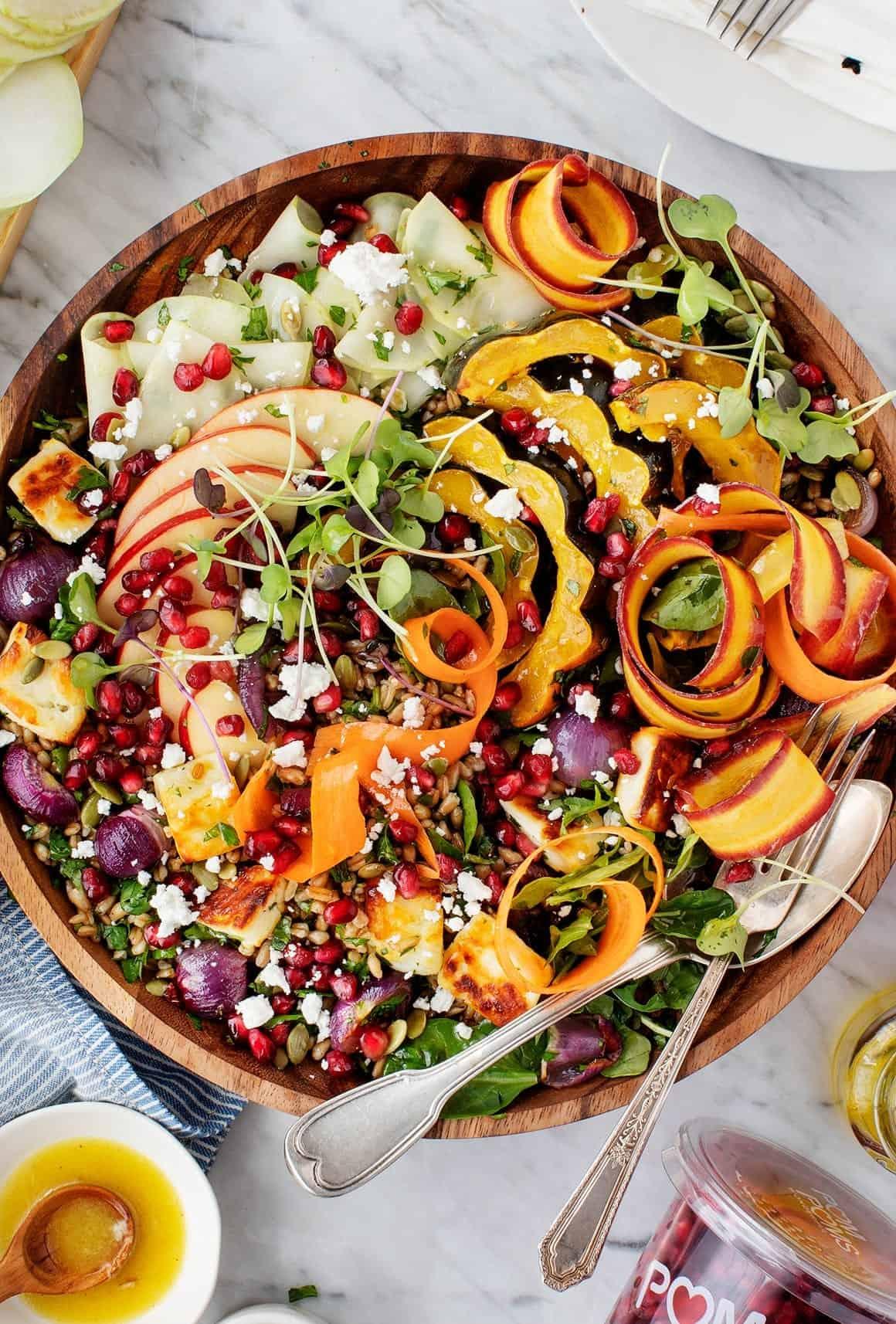 Fall Farro Salad w/ Halloumi & Pomegranates