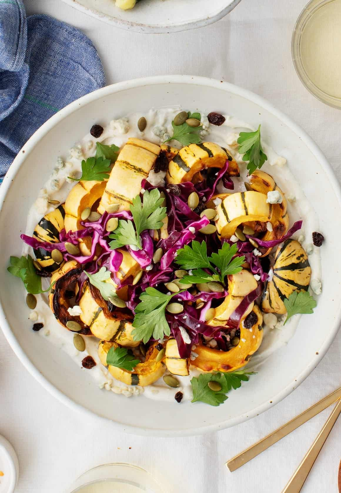 Roasted Delicata Squash & Creamy Blue Cheese Sauce with Tangy Red Cabbage
