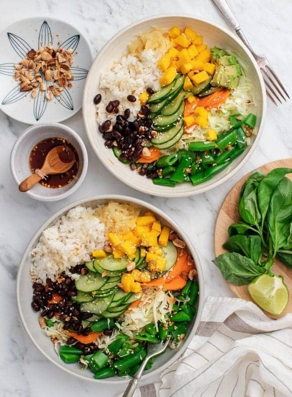 Mango Black Bean Ginger Rice Bowls