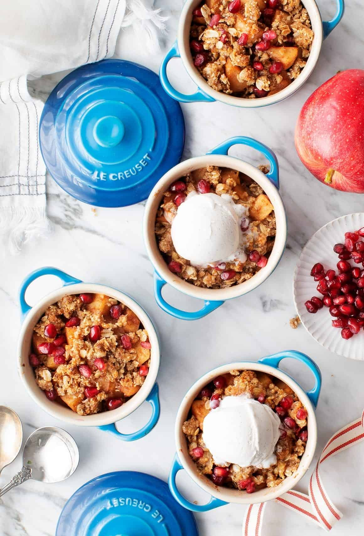 Spiced Healthy Apple Crisp with Pomegranates