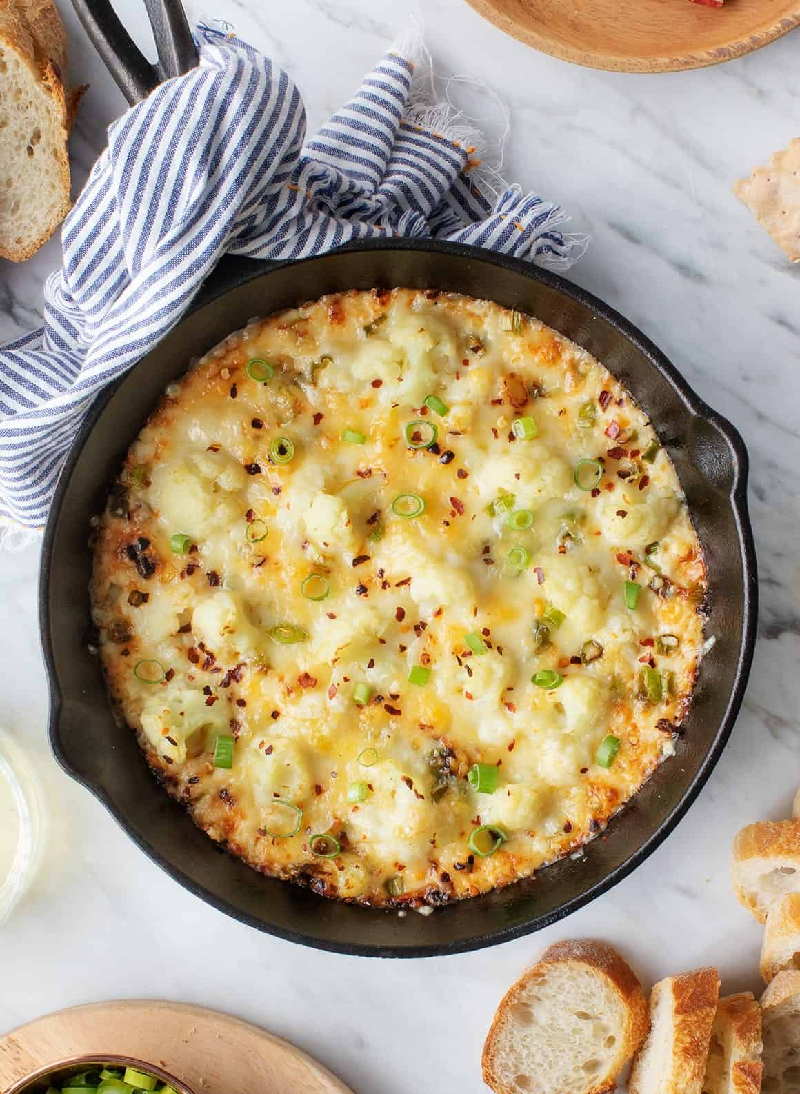 Baked Cheesy Cauliflower Party Dip