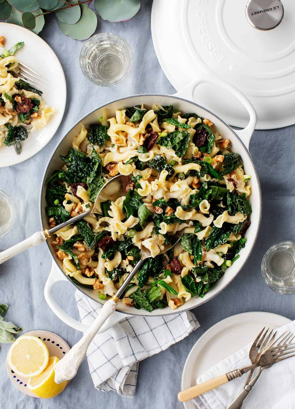 Sun Dried Tomato Pasta with Kale