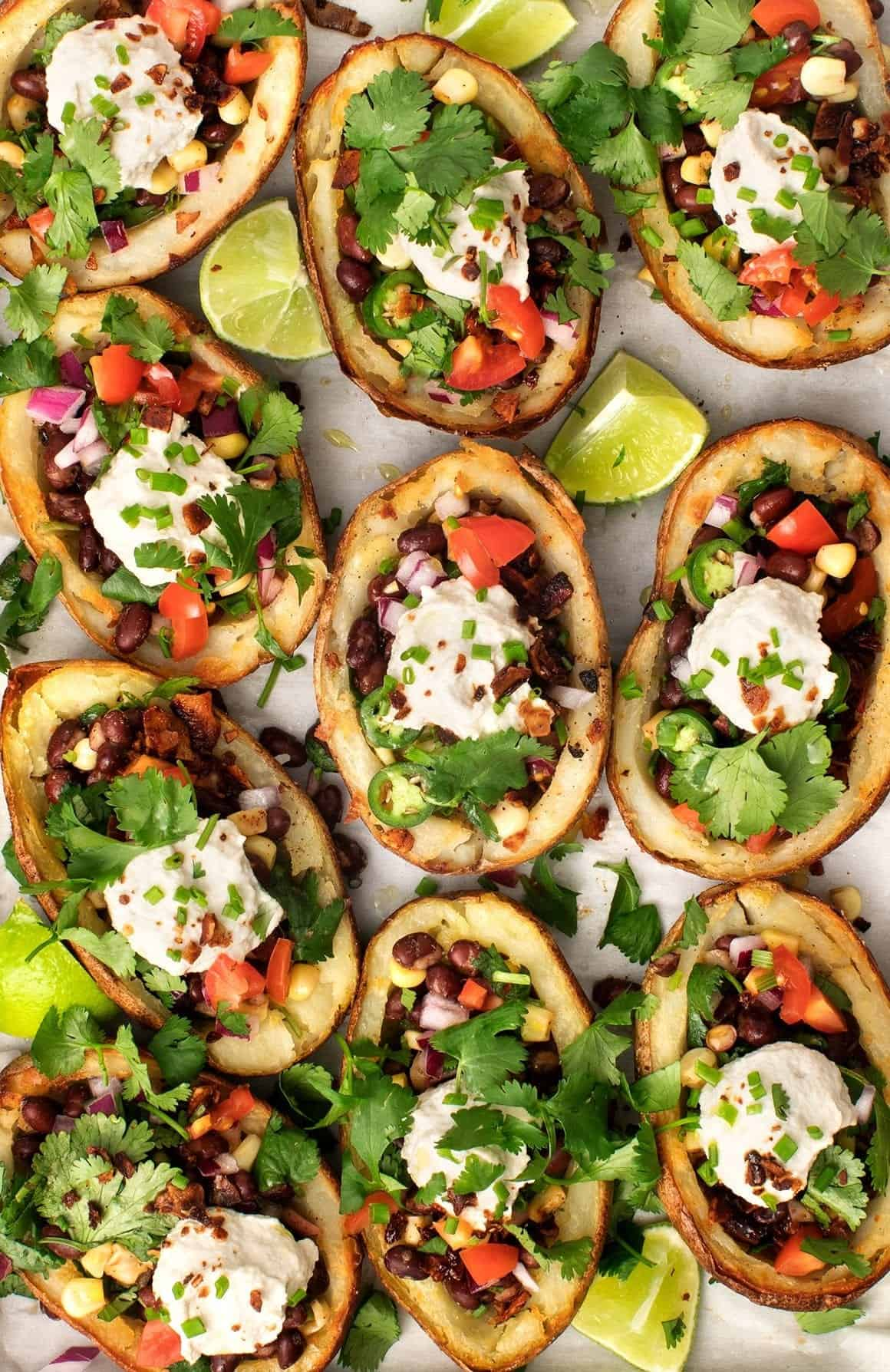 Healthy Game Day Recipes - Vegan Stuffed Potato Skins