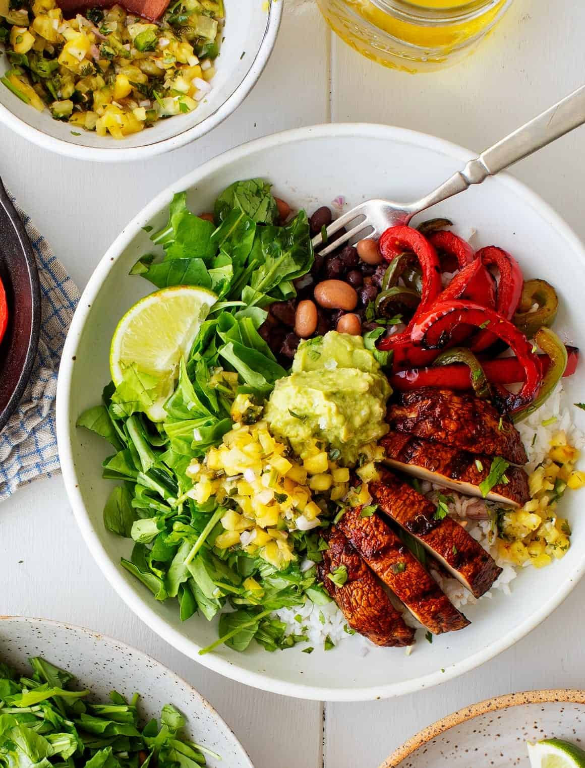 Healthy Game Day Recipes - Portobello Fajita Burrito Bowls