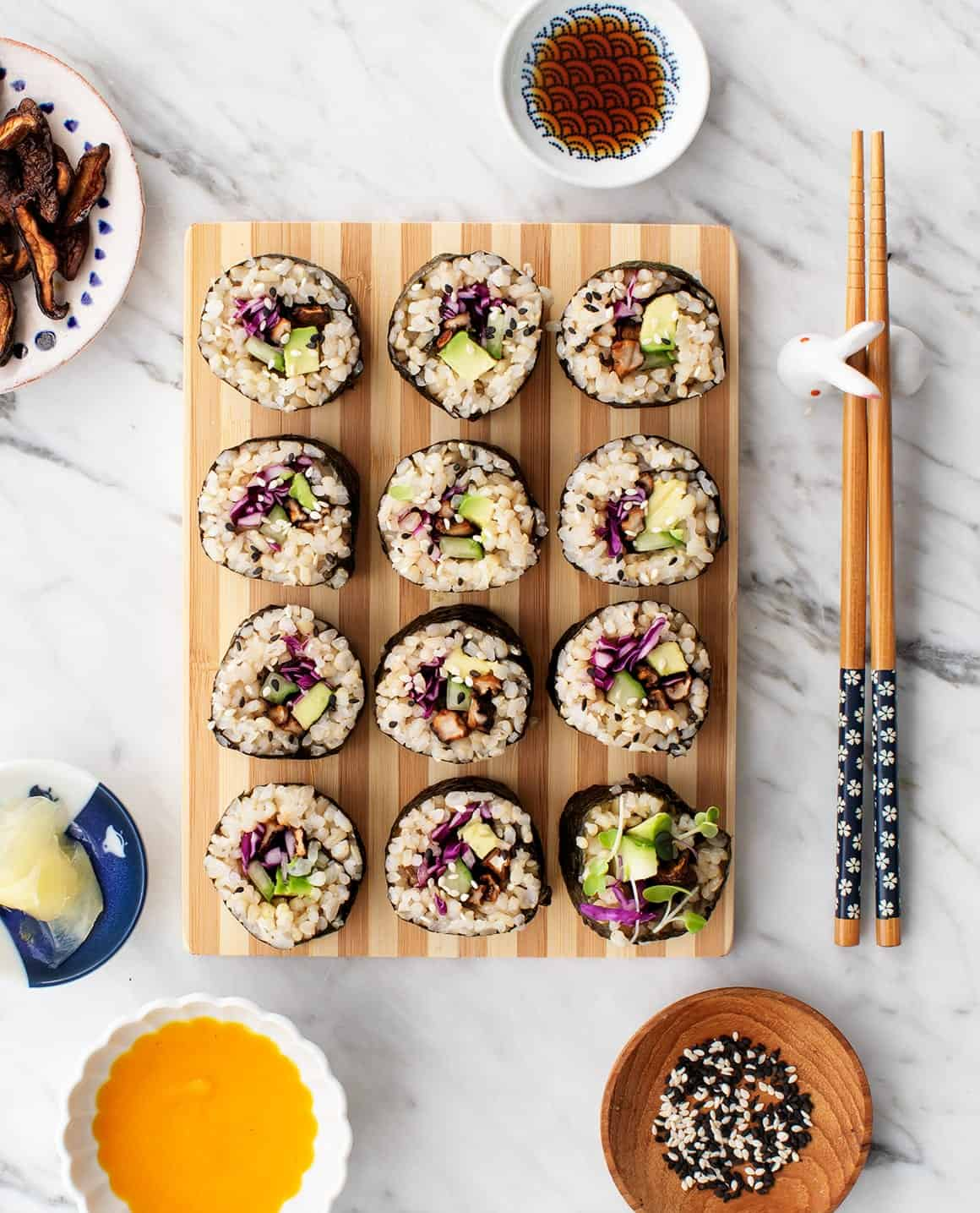 Shiitake Maki with Carrot Ginger Sauce
