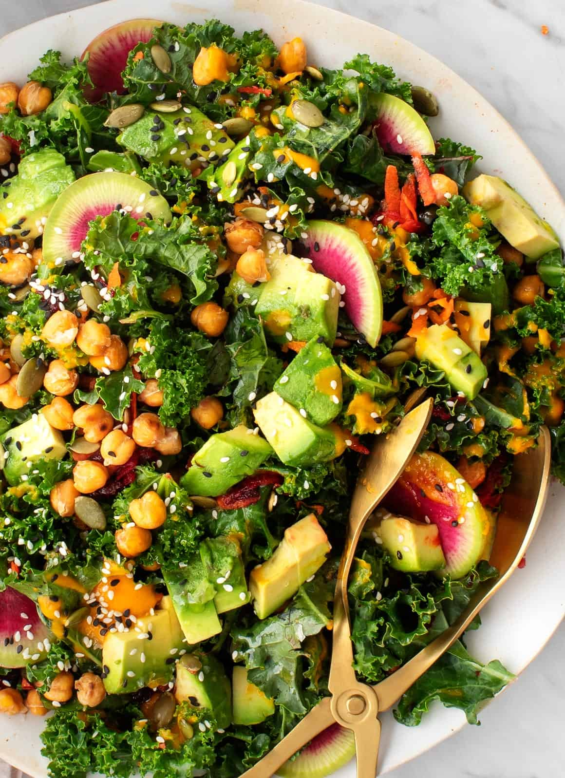 Rainbow Kale Salad with Carrot Ginger Dressing