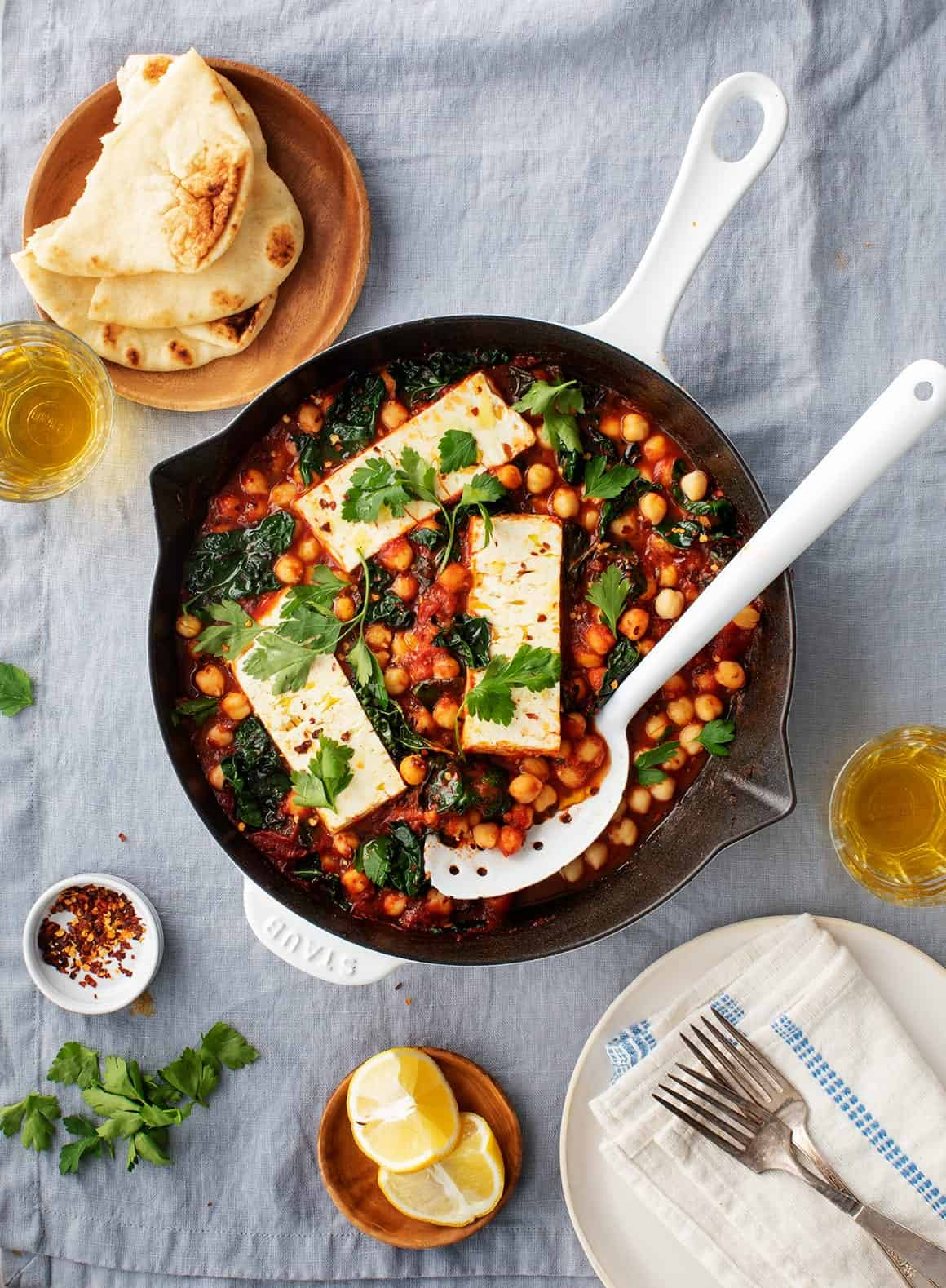 Baked Feta with Chickpeas & Kale