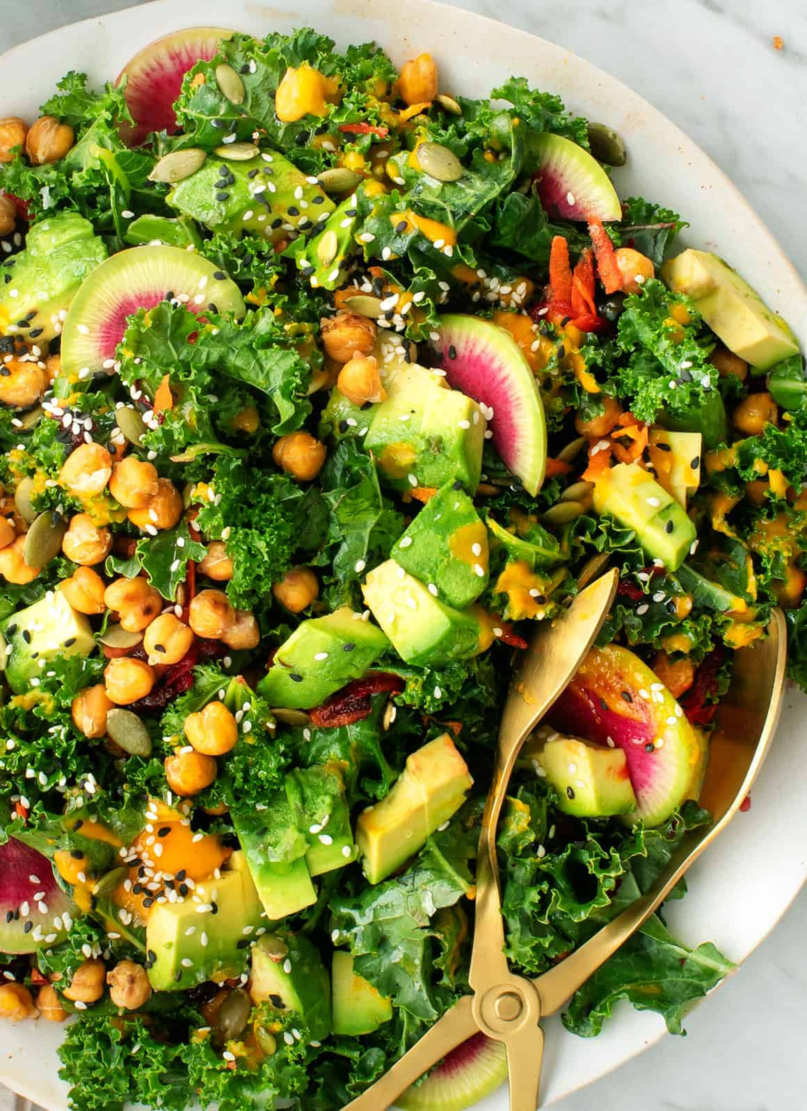 Kale Salad With Carrot Ginger Dressing Recipe Love And Lemons