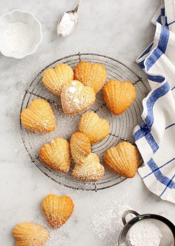 Heart-shaped meyer lemon madeleines