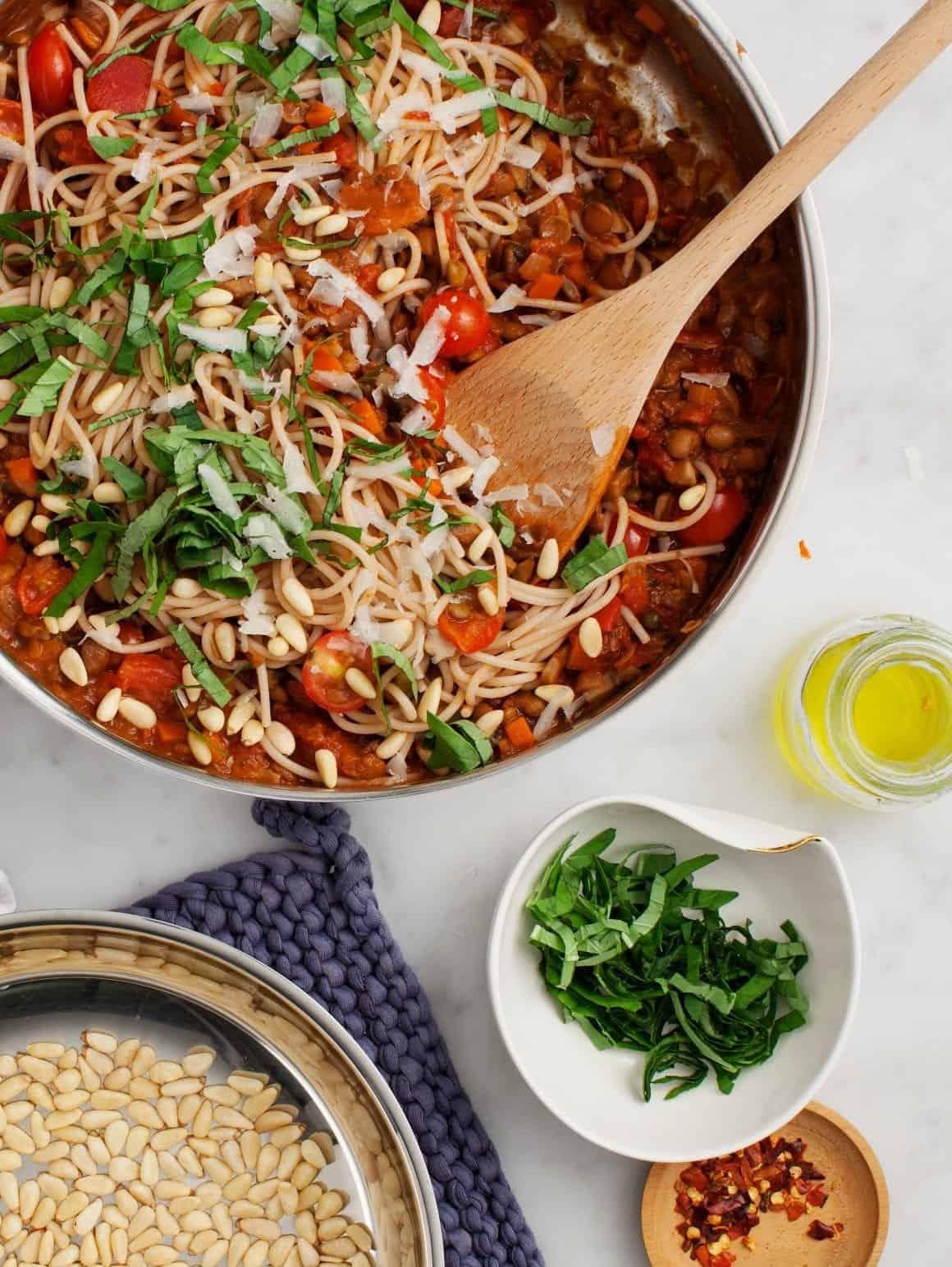Mushroom Lentil Spaghetti Bolognese