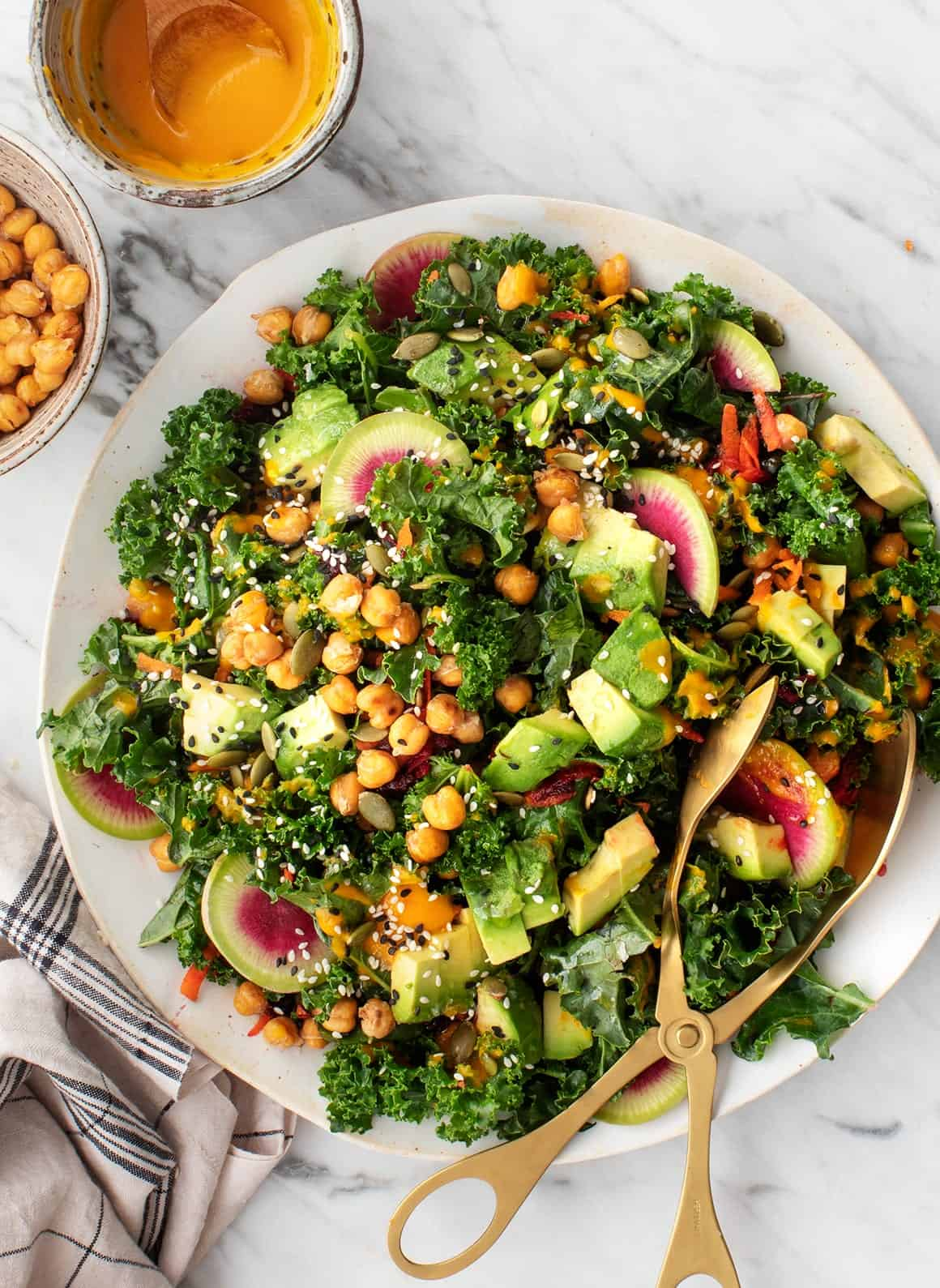 Rainbow Kale Salad with Carrot-Ginger Dressing