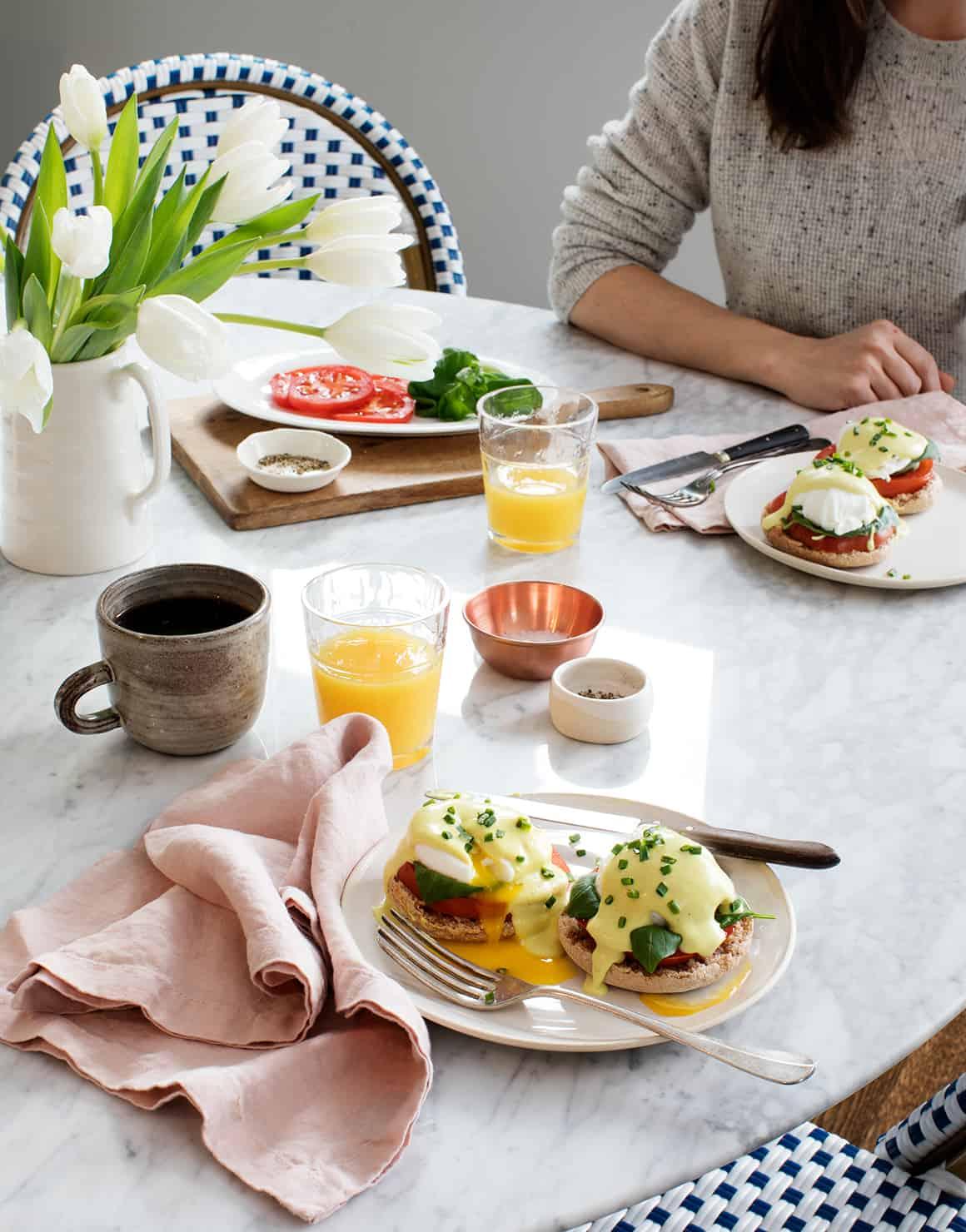 Caprese Eggs Benedict with Healthier Hollandaise