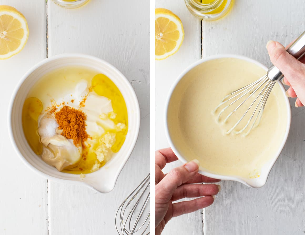 Hand whisking dressing ingredients in a bowl