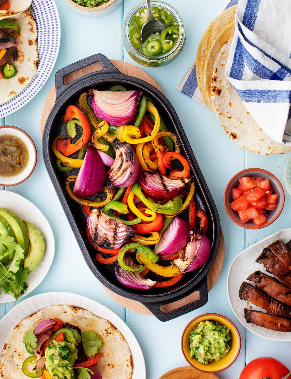 Fajitas on a picnic table