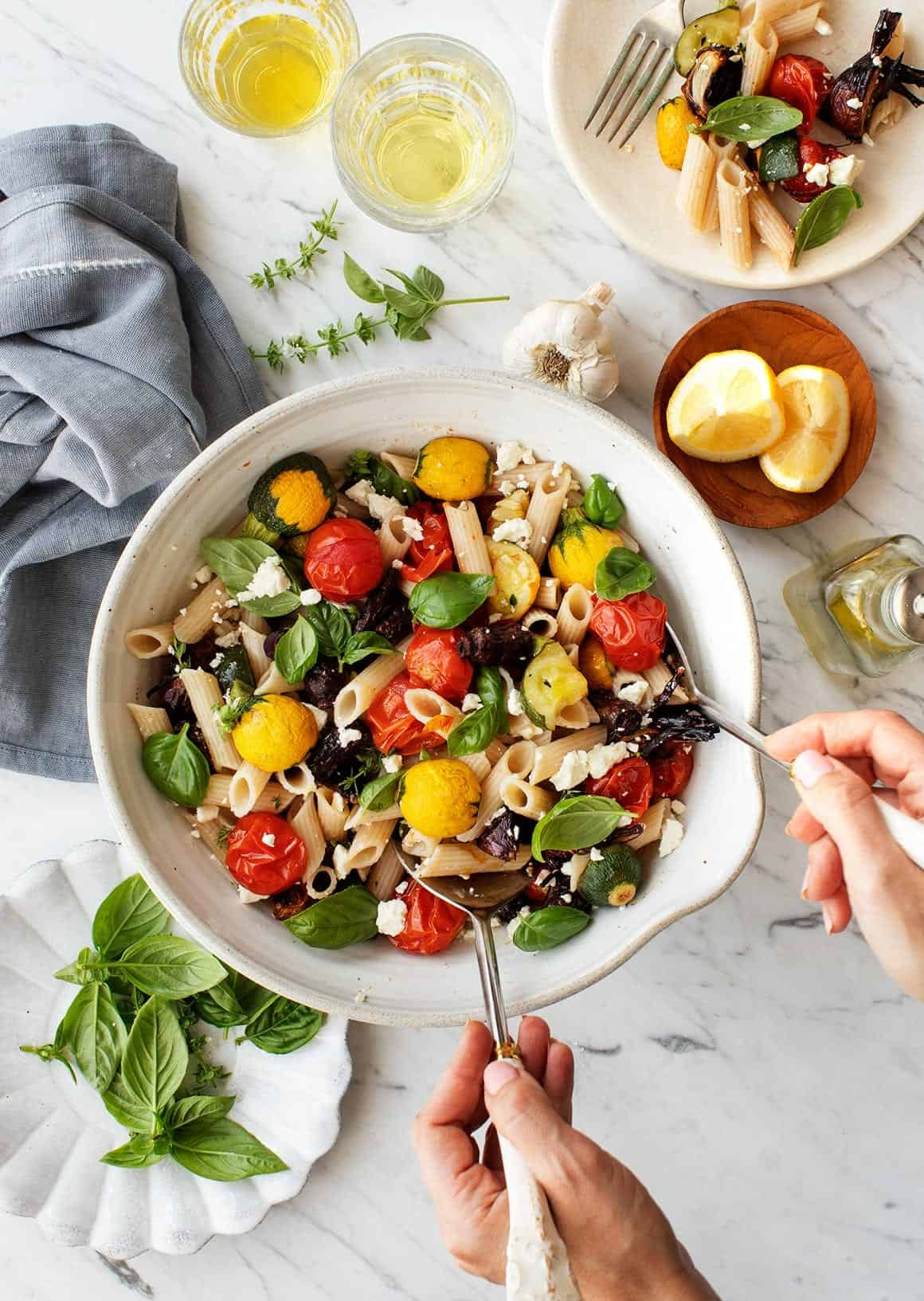 Roasted vegetable pasta with basil