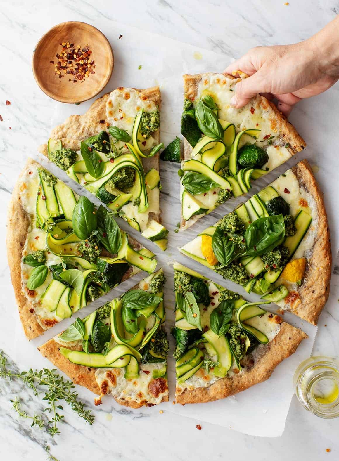 Basil pizza
