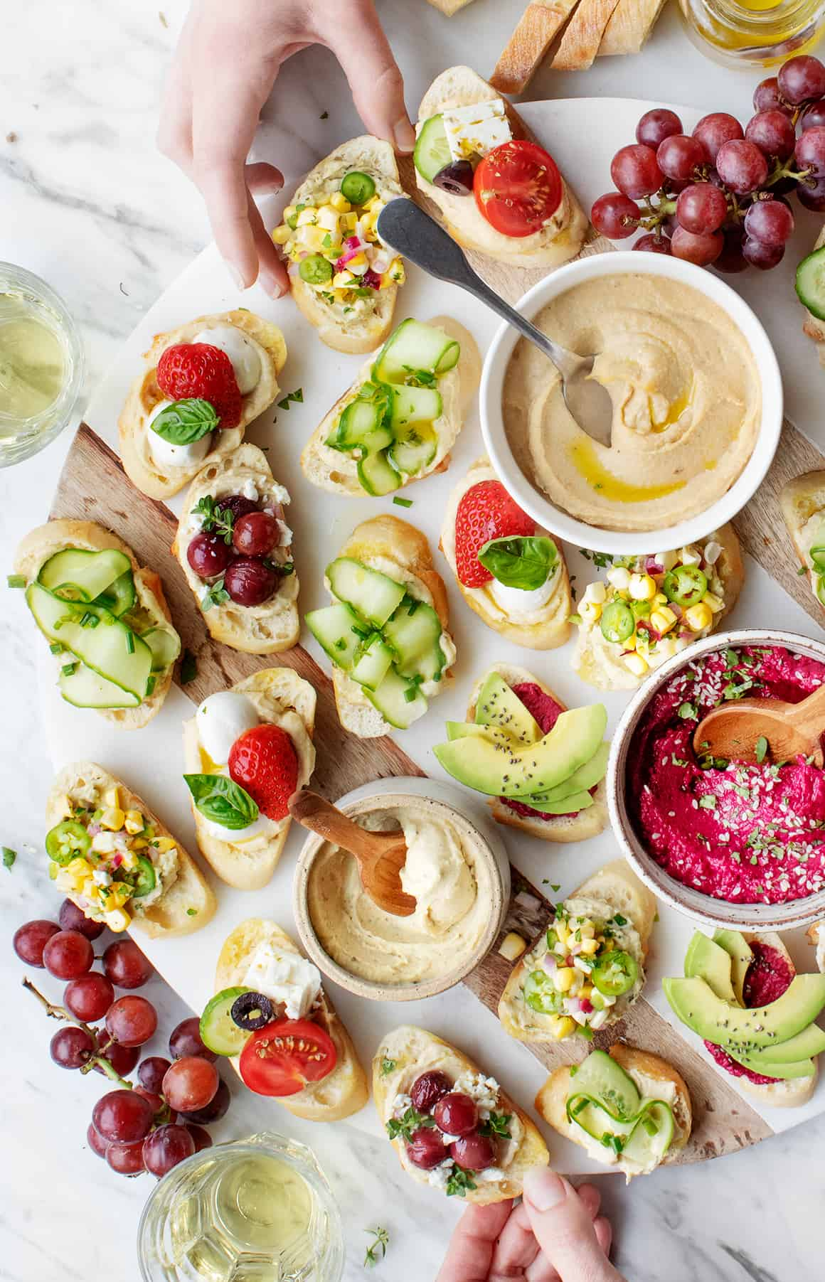 Summer appetizers on a crostini platter