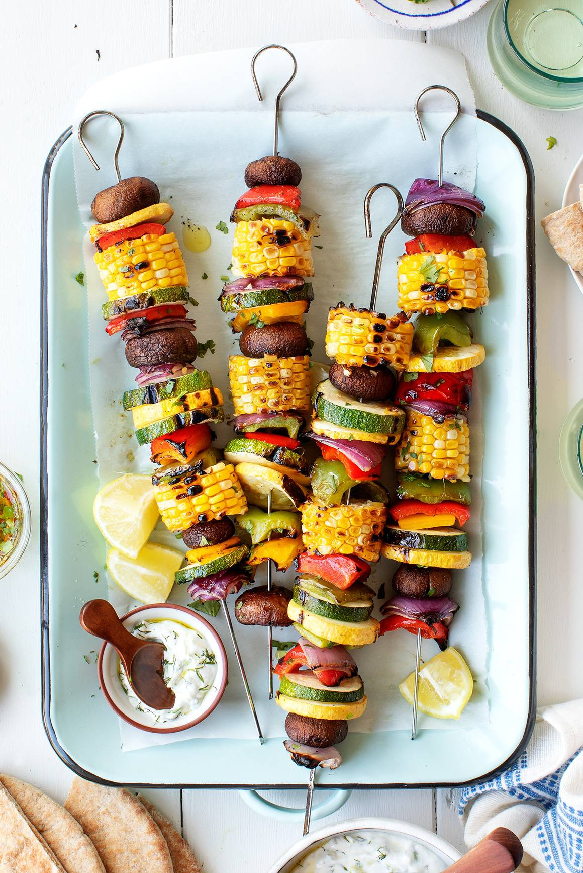 Easy zucchini recipes - grilled vegetable skewers
