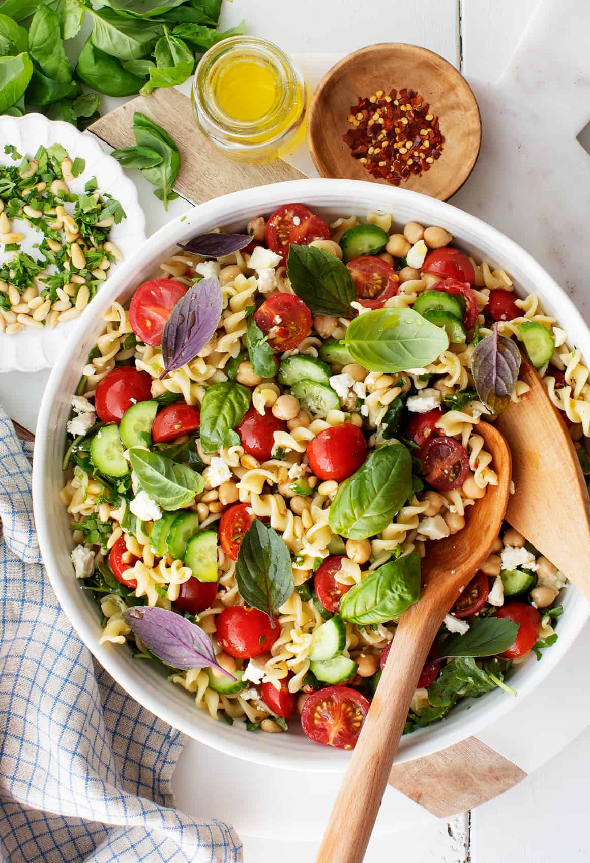 Pasta Salad with Basil Leaves