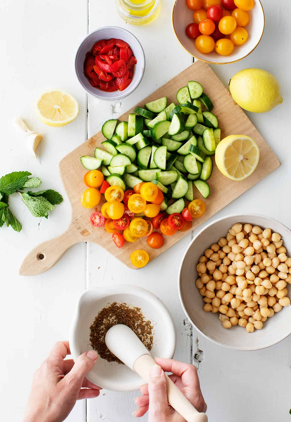Chickpea salad recipe steps