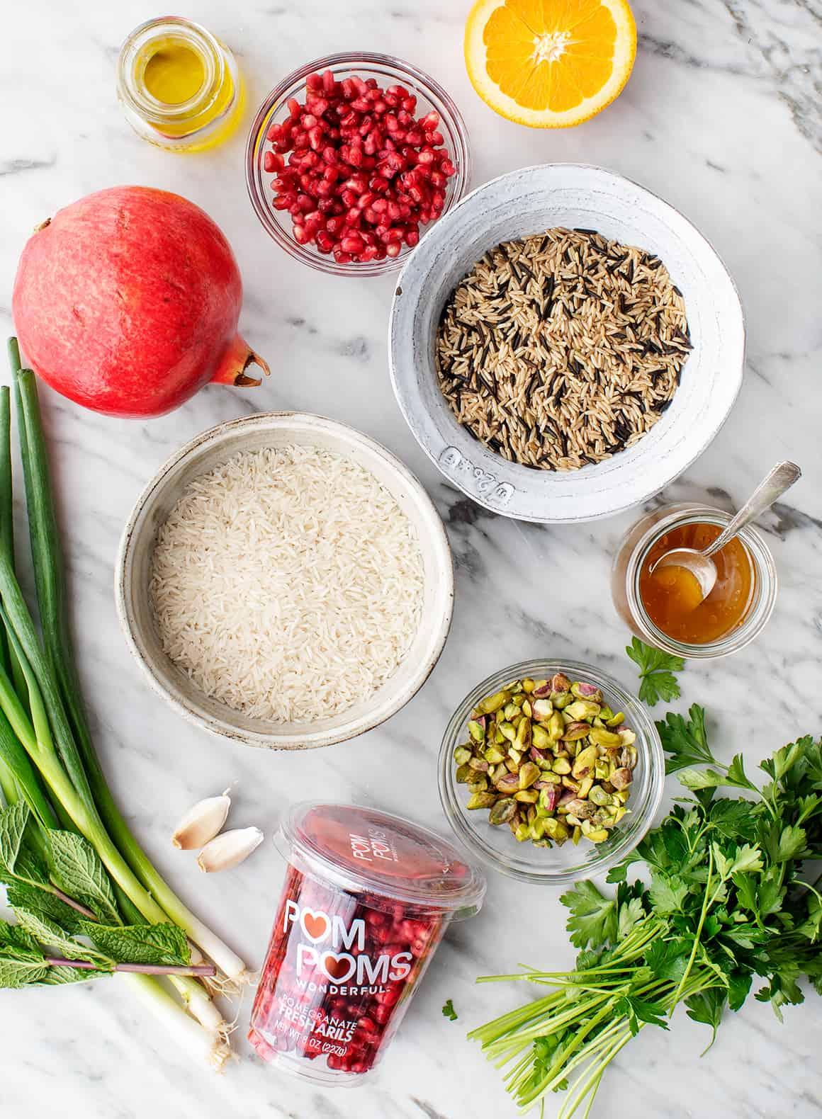 Recipe ingredients on marble