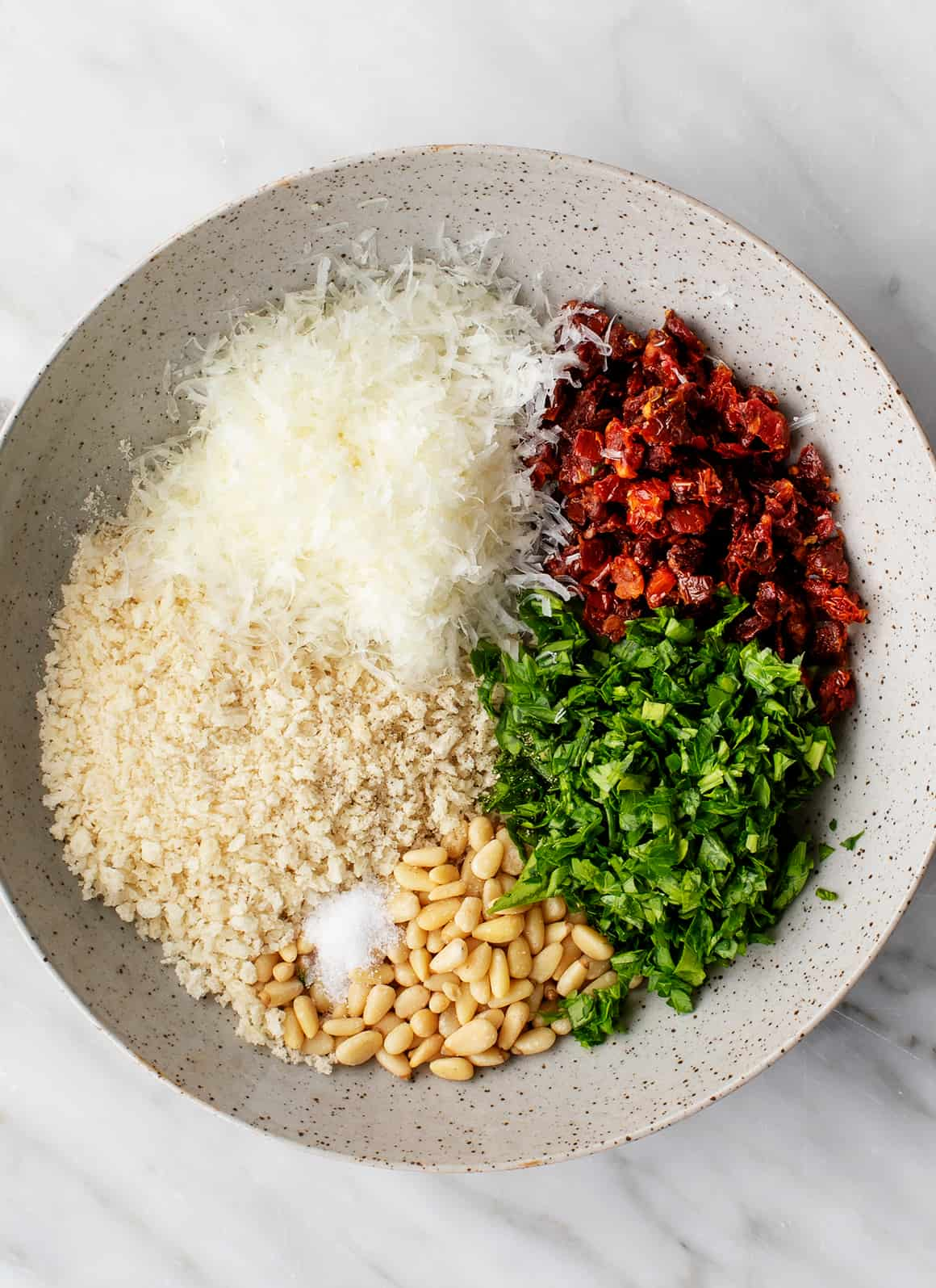 Filling ingredients in a bowl