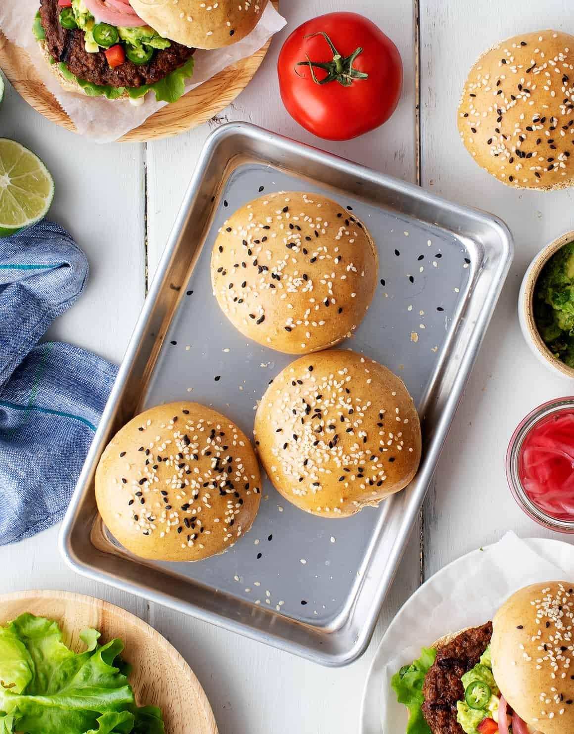 hamburger buns on a tray