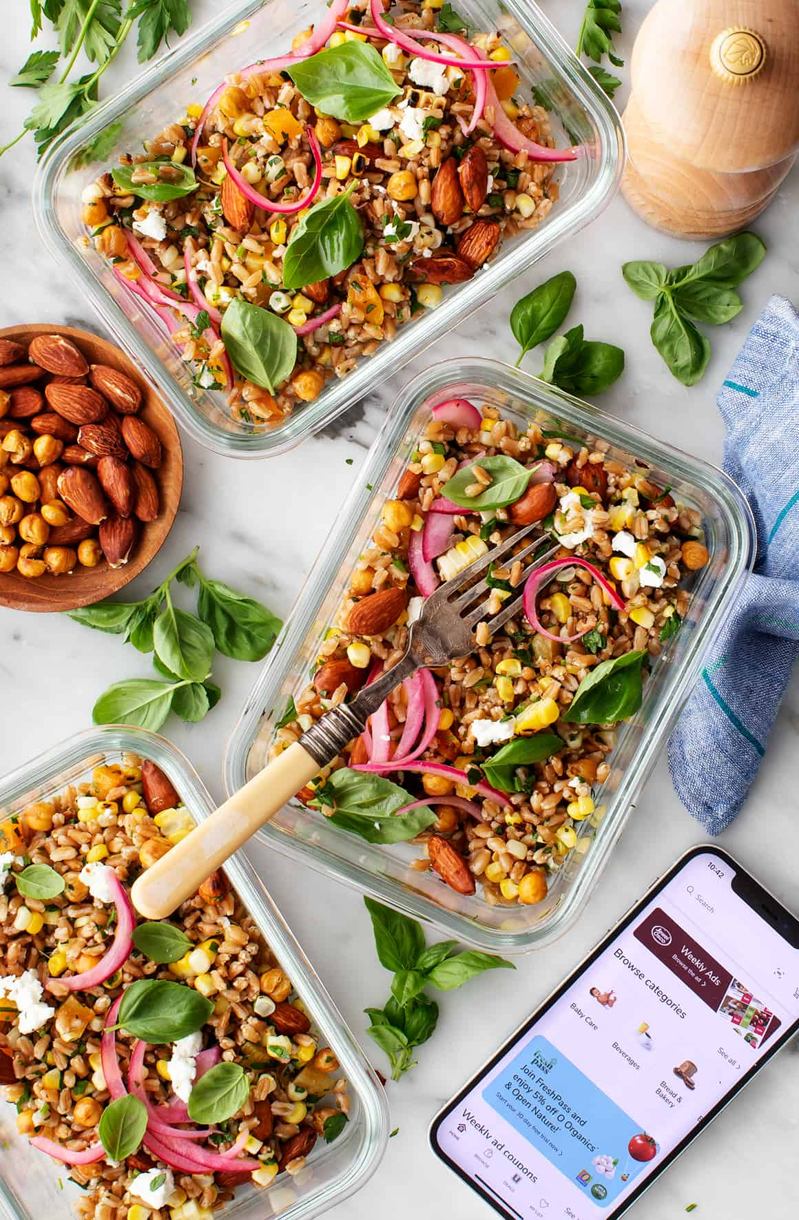Grain salad in meal prep containers